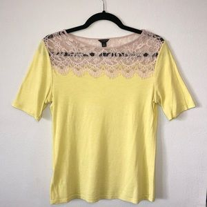 Yellow Tee with Lace